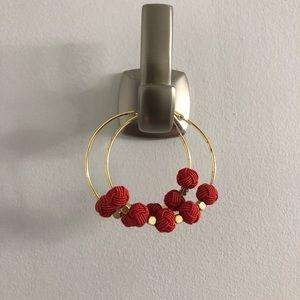 Red ball hoop earrings